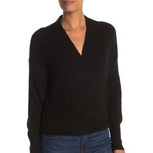 MAX STUDIO BLACK RIBBED KNIT WRAP SWEATER